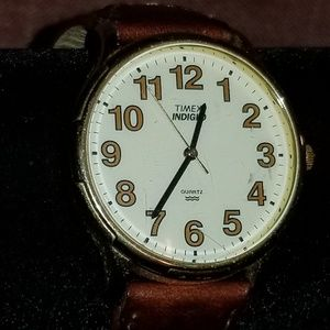 Timex indiglo wed with Brown leather band 90s styz